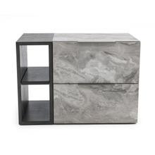 View Product - Nova Domus Maranello - Modern Grey Wash & Faux Marble Nightstand