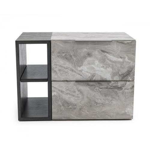 VIG Furniture - Nova Domus Maranello - Modern Grey Wash & Faux Marble Nightstand