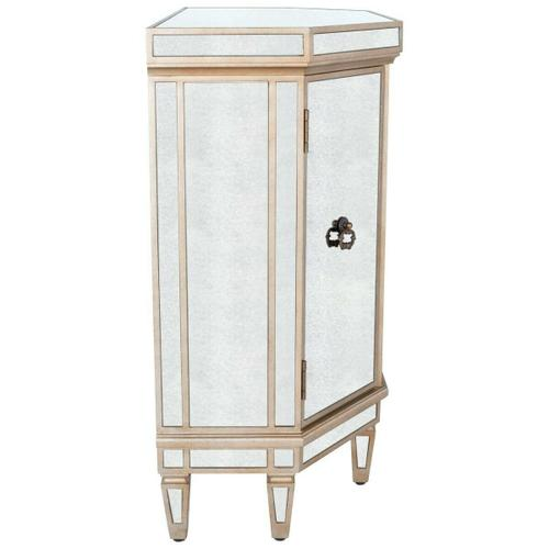 Butler Specialty Company - This mirrored console chest is an elegant addition to any foyer, hallway or boudoir. Featuring antique mirror panel inlays and a pewter finish, it is crafted from poplar hardwood solids and wood products. It offers ample storage with three drawers and side storage compartments behind each door, all with antique brass finished hardware.