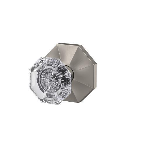 Custom Alexandria Non-Turning Glass Knob with Rosewood Trim - Satin Nickel