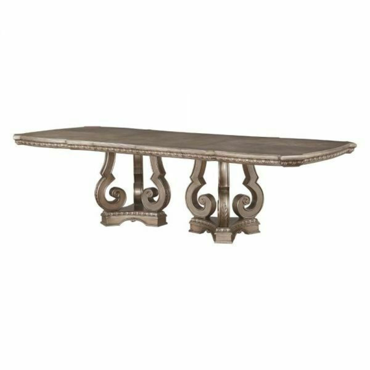 ACME Northville Dining Table w/Double Pedestal - 66920 - Antique Silver