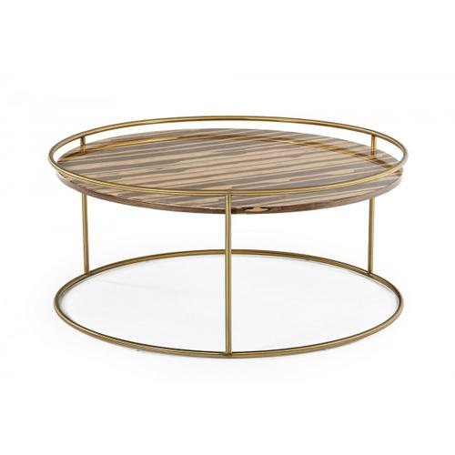 Gallery - Modrest Gilcrest - Glam Brown and Gold Marble Coffee Table