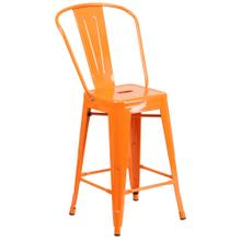 See Details - 24'' High Orange Metal Indoor-Outdoor Counter Height Stool with Back