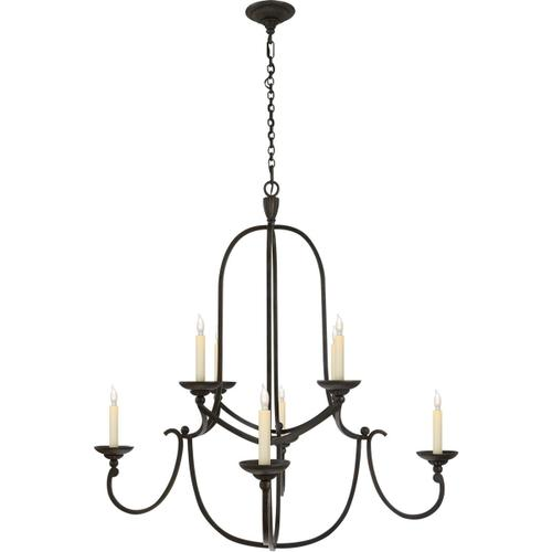 Visual Comfort - Chapman & Myers Flemish 8 Light 36 inch Aged Iron Chandelier Ceiling Light in (None)
