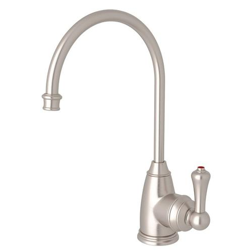 Satin Nickel Perrin & Rowe Georgian Era C-Spout Hot Water Faucet with Traditional Metal Lever