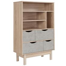 Bookshelf and Storage Cabinet in Oak Wood Grain Finish with Gray Drawers