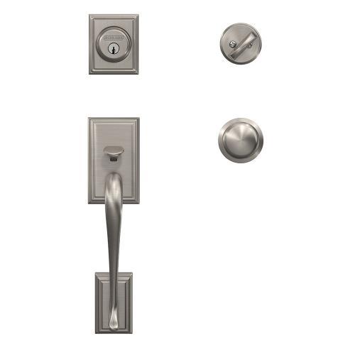 Custom Addison Single Cylinder Handleset and Interior Plymouth Knob with Kinsler Trim - Satin Nickel