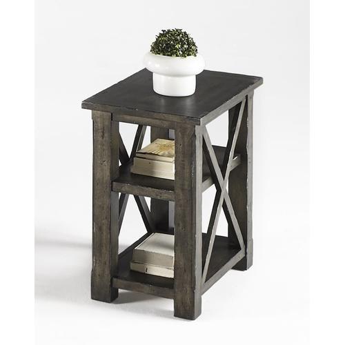 Chairside Table - Dark Birch Smoke Finish