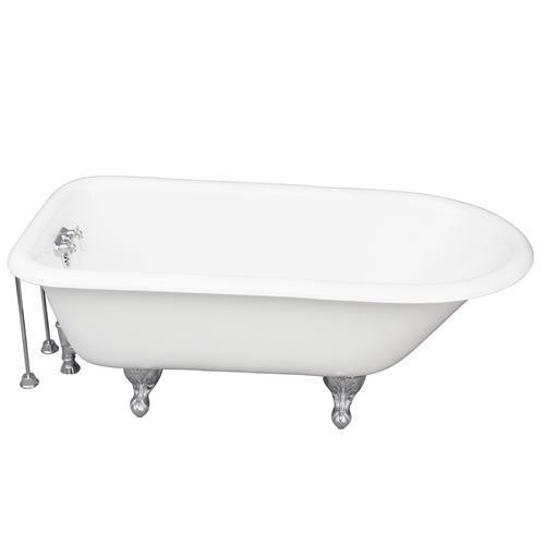 "Bartlett 60"" Cast Iron Roll Top Tub Kit - Polished Chrome Accessories"