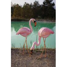 See Details - painted metal pink flamingo \ head up