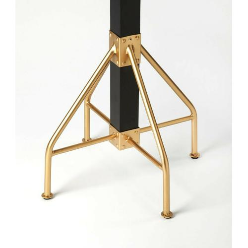 Butler Specialty Company - This rustic contemporary coat rack is an ideal addition in any entryway, den or office space to hang hats, jackets, umbrellas, or in a bathroom for towels and robes. It features 2 tiers of gold finished iron hooks and a matching base with a solid mango wood post finished in black.