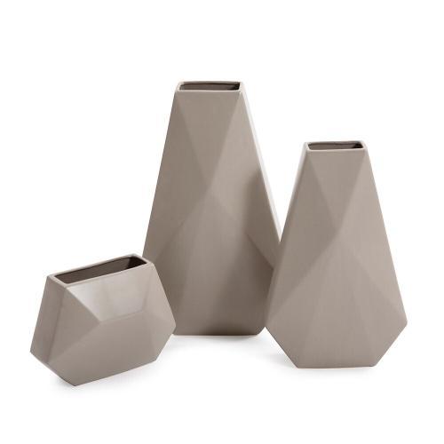 Howard Elliott - Geo Matte Stone Ceramic Vase, Medium