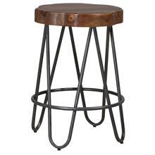 Pembra Backless Counter Height Stool With Wood Seat, Natural Sheesham