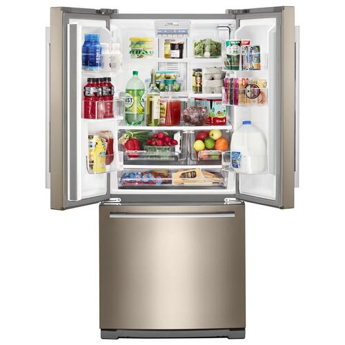 30-inch Wide Contemporary Handle French Door Refrigerator - 20 cu. ft. Fingerprint Resistant Sunset Bronze
