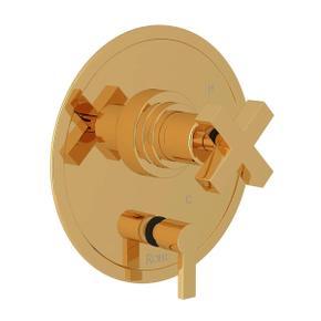 Lombardia Pressure Balance Trim with Diverter - Italian Brass with Cross Handle