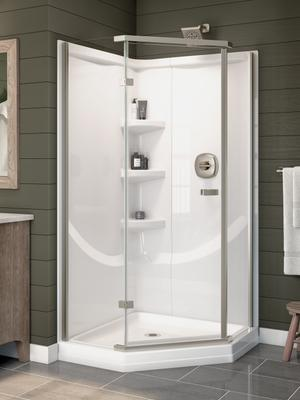 White 38'' Direct-to-Stud Corner Shower Wall Set Product Image