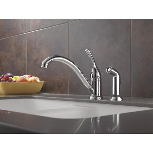 Chrome Single Handle Kitchen Faucet with Spray