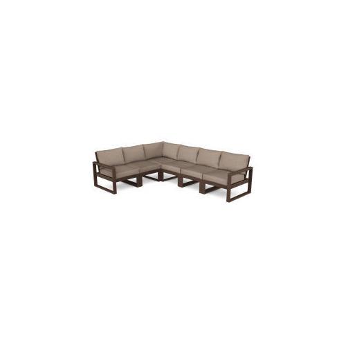 Polywood Furnishings - EDGE 6-Piece Modular Deep Seating Set in Mahogany / Spiced Burlap