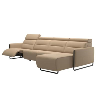 See Details - Stressless® Emily arm steel 3 seater Power left with Long Seat