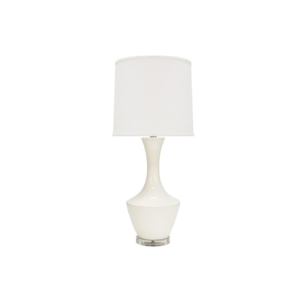 Oh Hi There! You'll Love Our Friendly and Outgoing Bridget Table Lamp for Its Modern Silhouette and Graceful Lines. Features A Classic White Ceramic Base Atop an Acrylic Foot and Topped With A Crisp White Linen Shade.
