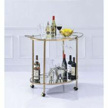 ACME Zadok Serving Cart - 98040 - Champagne & Mirrored