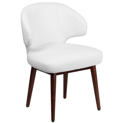 White Leather Side Reception Chair with Walnut Legs