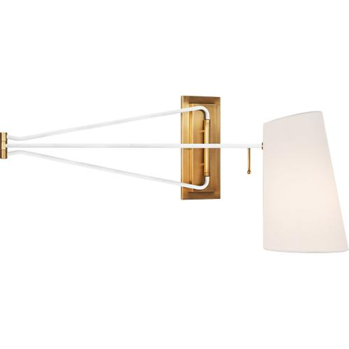 AERIN Keil 51 inch 60 watt Hand-Rubbed Antique Brass and White Swing Arm Wall Light, Large