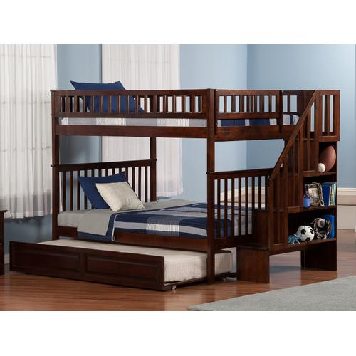 Woodland Staircase Bunk Bed Full over Full with Raised Panel Trundle Bed in Walnut