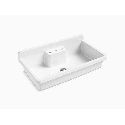 """White 45"""" X 25"""" X 9"""" Top-mount/wall-mount Kitchen Sink With Three Faucet Holes, White Underside"""