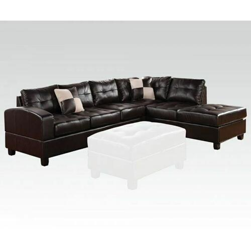 ACME Kiva Sectional Sofa w/2 Pillows (Reversible) - 51195_KIT - Black Bonded Leather Match