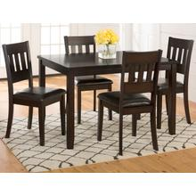 Dark Rustic Prairie Dining 5 Pack- Dining Table W/(4) Chairs