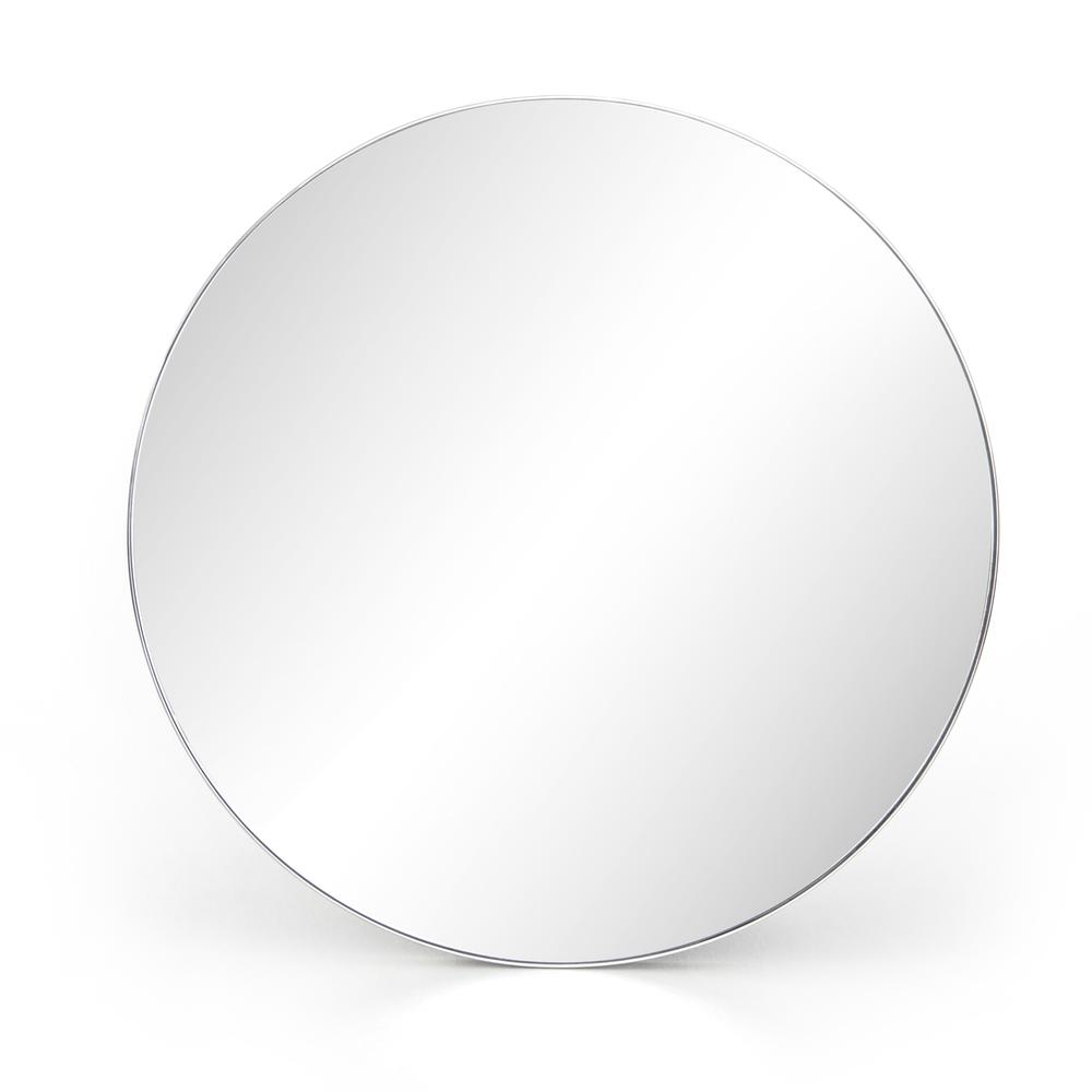 Large Size Shiny Steel Finish Bellvue Round Mirror
