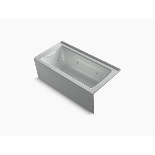 "Ice Grey 60"" X 30"" Three-side Integral Flange Whirlpool Bath With Left-hand Drain, Heater, and Comfort Depth Design"