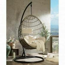 ACME Vasant Patio Swing Chair with Stand - 45082 - Fabric & Wicker