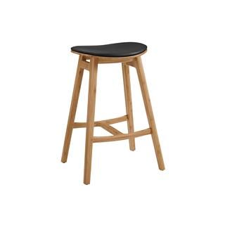 "Skol 30"" Bar Height Stool With Leather Seat, Caramelized, (Set of 2)"
