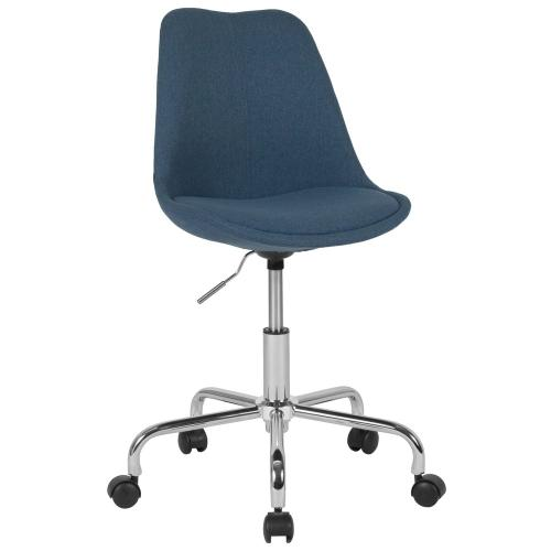 Mid-Back Blue Fabric Task Chair with Pneumatic Lift and Chrome Base