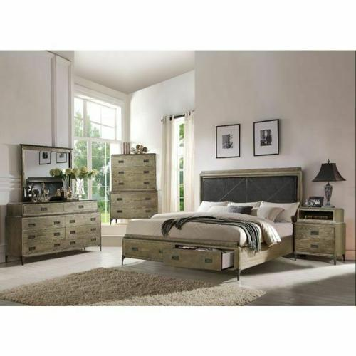 ACME Athouman Queen Bed w/Storage - 23920Q - PU & Weathered Oak
