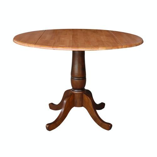 John Thomas Furniture - Round Dropleaf Pedestal Table in Cinnamon / Espresso