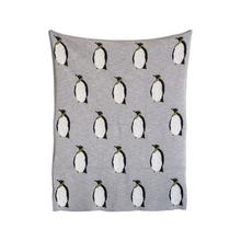 "40""L x 32""H Cotton Knit Baby Blanket w/ Penguins, Grey"