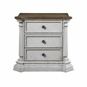 ACME York Shire Nightstand - 28273 - Country-Cottage, Provincial - Wood (Poplar), Wood Veneer (Hickory), MDF, PB, Ply - Antique White and Dark Charcoal