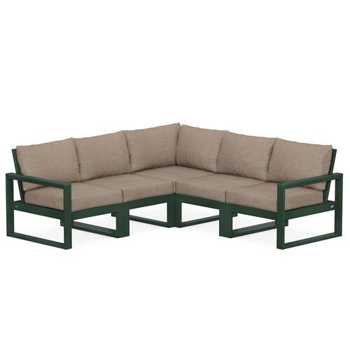 Polywood Furnishings - EDGE 5-Piece Modular Deep Seating Set in Green / Spiced Burlap