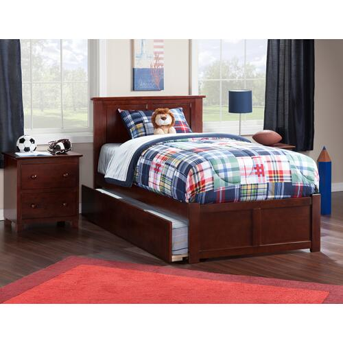 Atlantic Furniture - Madison Twin Flat Panel Foot Board with Urban Trundle Walnut