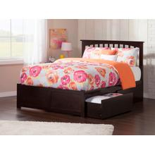 Mission King Flat Panel Foot Board with 2 Urban Bed Drawers Espresso
