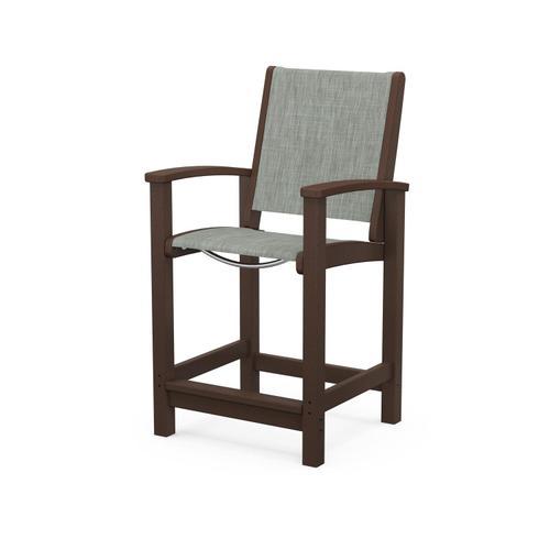 Coastal Counter Chair in Mahogany / Birch Sling