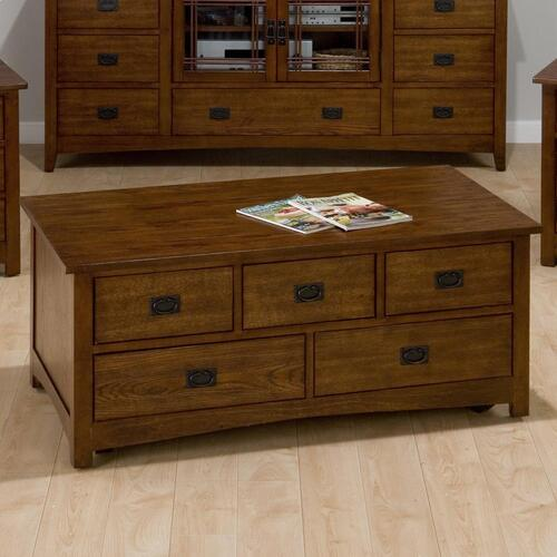 Rectangle Cocktail Table W/ 5 Pull-thru Drawers and Casters