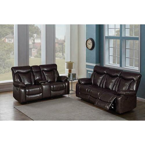 Zimmerman Dark Brown Faux Leather Two-piece Living Room Set
