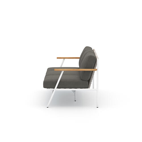 Charcoal Cover Aroba Outdoor Sofa, White Aluminum
