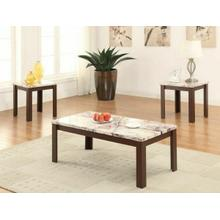ACME Carly 3Pc Pack Coffee/End Table Set - 82132 - Faux Marble & Cherry
