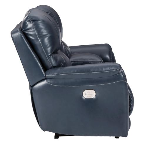 Power Leather Console Loveseat with Adjustable Headrest and Lumbar