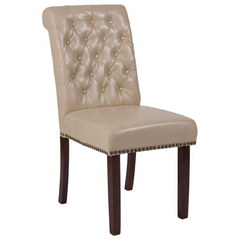 Beige Leather Parsons Chair with Rolled Back, Accent Nail Trim and Walnut Finish